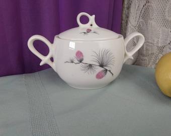 Canonsburg Pottery Wild Clover Sugar Bowl Skyline Ceramic Pink Black Cream Off White Mid Century Dining