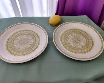 Vintage Set of 2 Franciscan Hacienda Green Dinner Plates Boho Floral Earthenware Stoneware Pottery Retro70's Plates