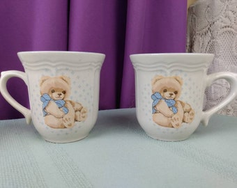 Tienshan Country Bear Stoneware Coffee Cups Theodore Teddy Set of 2 Collectable Replacement China Affordable Gift GrandesTreasures