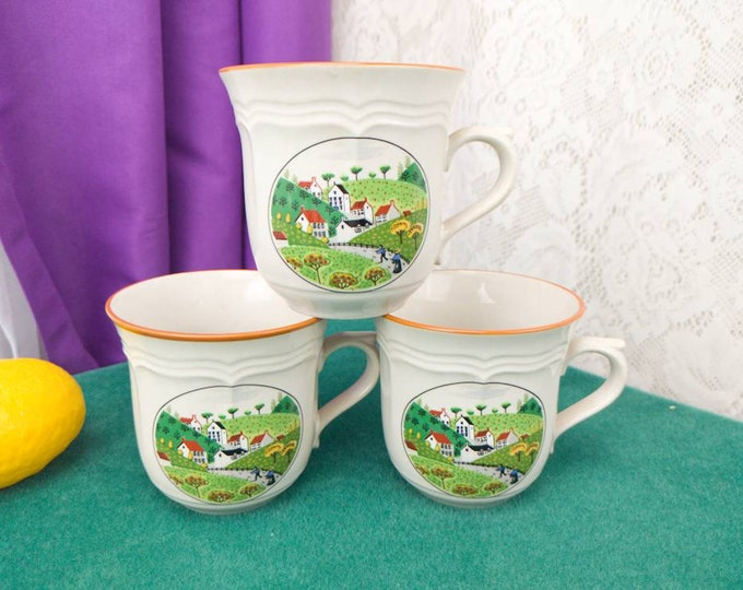 Country Village Newcor Stoneware Set Of 3 Coffee Cups Vintage Replacement Drinkware Ceramic