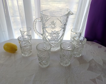 EAPG Vintage Prescut Star Of David Clear Pressed Glass Water Pitcher With 6 Matching Glasses Drinkware Set 60 Oz / 10 Oz