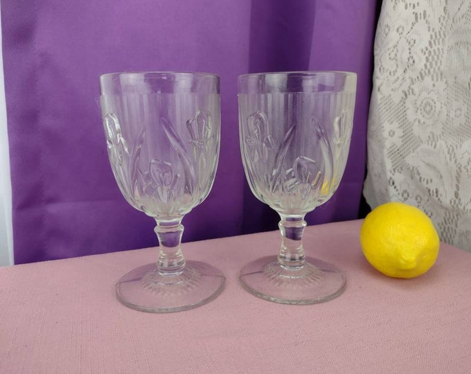 Iris And Herringbone Water Glasses Jeannette  Clear Depression Glass Set Of 2  Replacement Stemware Wedding Gift 1930's Drinkware
