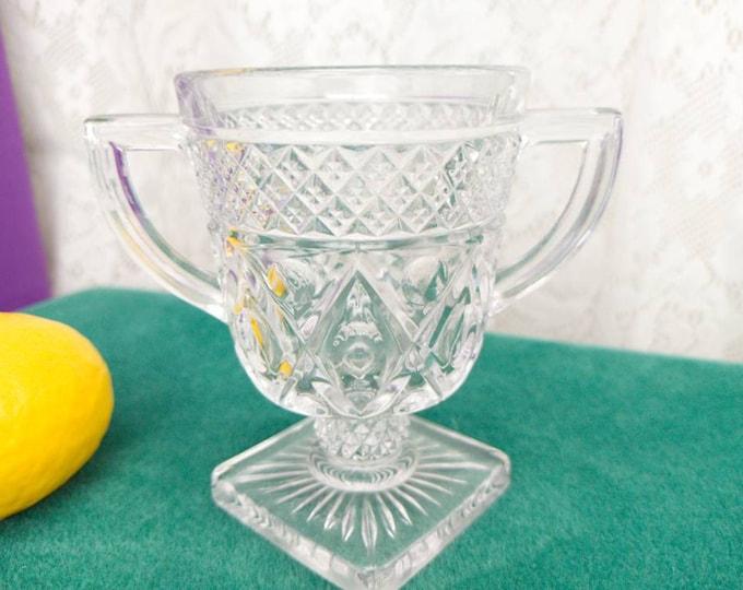 Cape Cod Clear Sugar Bowl By Imperial Glass 1602 Footed Open Handled Dish Square Base