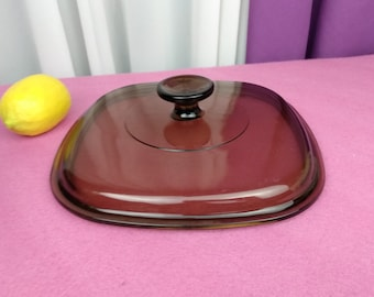 Pyrex Corning Ware Square A-9-C  Amber Glass Lid Corning Ware Square 8 1/2 Glass Replacement Cover Visionware Bakeware Fits A 2 B Base