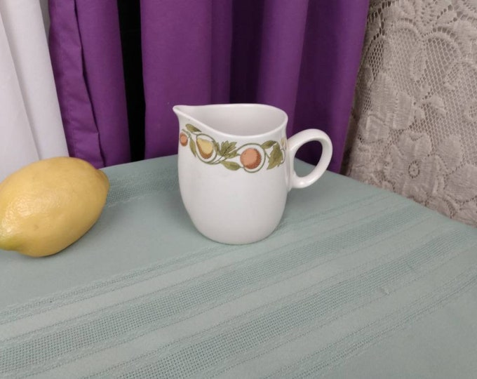Franciscan Pickwick Creamer White Stone Ware Interpace Fruit Of The Earth Dinnerware Retro Kitchen