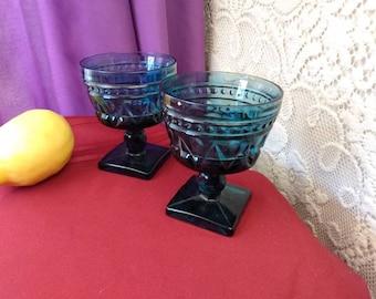Indiana Colony Park Lane Blue Sherbert Cups ~ Set Of 2 ~ Footed Dessert Bowls Pedestal Bowls Retro Glassware Vintage Kitchen