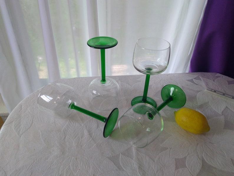 Set of 4 Vintage Arcoroc Luminarc France Green Stemmed Clear Water/ Wine  Goblets Barware Wine Glasses Drinkware