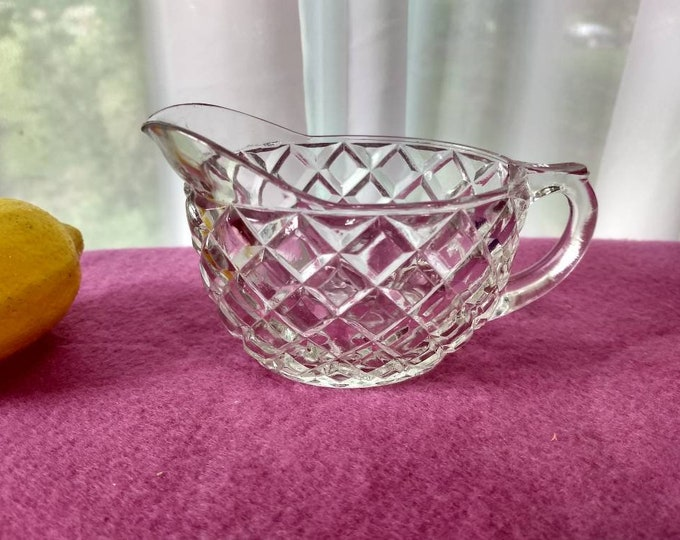 Anchor Hocking Waterford Crystal Clear Creamer Waffle Pattern Circa 1930's Depression Glass Glassware