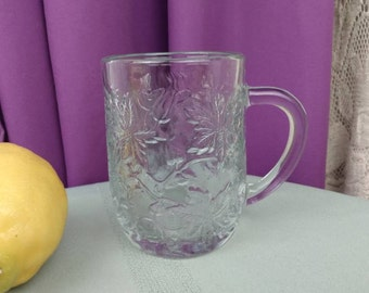 Princess House Fantasia Mug Clear Embossed Poinsetta Flowers Replacment Affordable Gift Colectible Heavy Durable