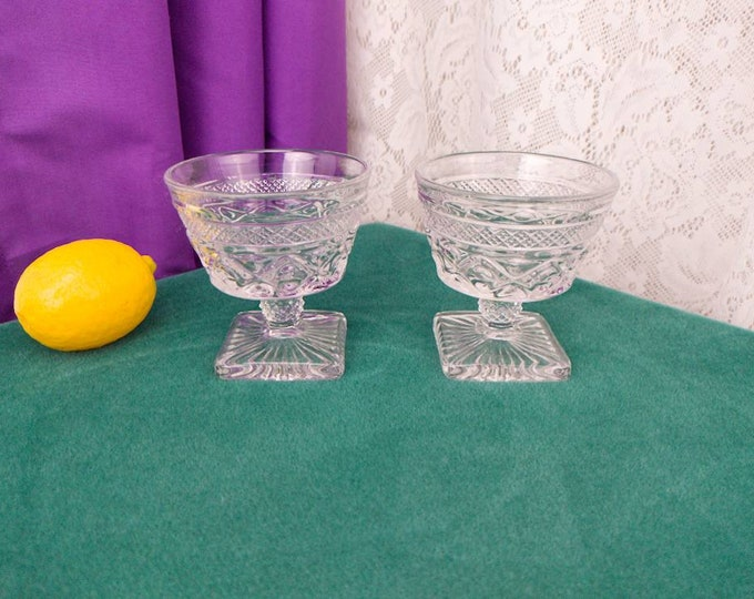 Cape Cod Footed Dessert Dishes Clear By Imperial Glass - Ohio 1602 Set Of 2 Sundae Champaigne Glasses Sherbert Cups