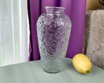 Princess House Fantasia Vase Clear Crystal Embossed Vase #556 9 Inch Tall