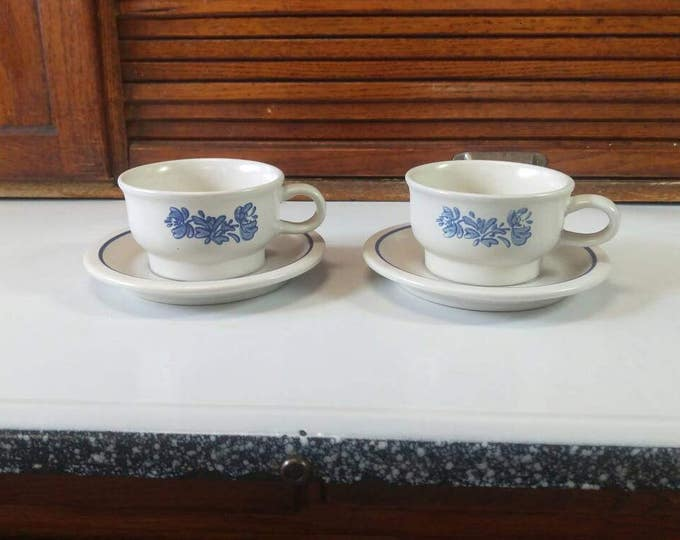 Pfaltzgraft Yorktowne Stoneware Blue Cups and Saucers Set of 2