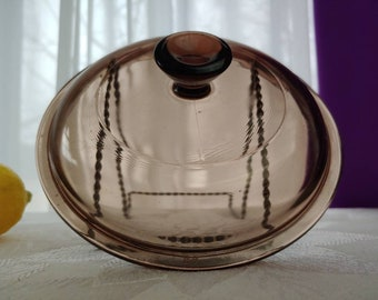 Pyrex Visions Amber V- 1-C Brown Visionware Corning Glass Cookware Retro Replacement 1 Liter Pan Cover