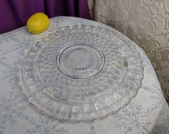 Federal Glass 2889 Clear Pattern Footed Cake Plate Sunflower Bubbles Burple Replacement Depression Glass Affordable Gift