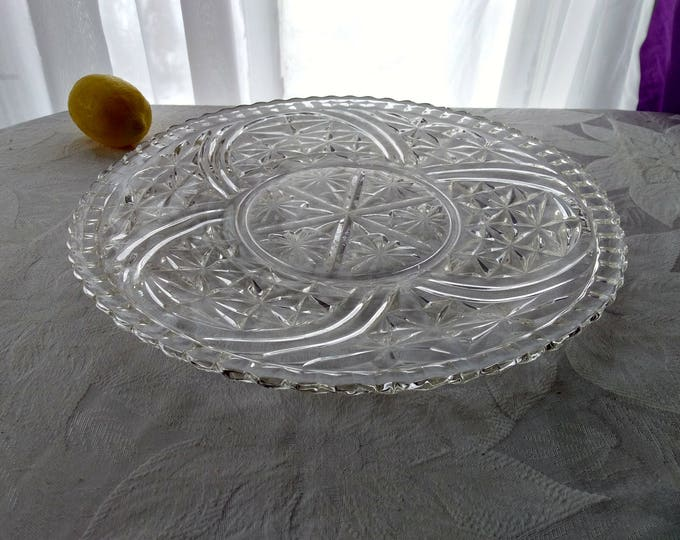 Vintage Anchor Hocking Pressed Glass Stars & Bars Torte Plate Large 12 Inch Clear Platter In Production 1924 - 1965 DIY Wedding Serving