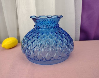 Brilliant Blue Quilted Pattern Hurricane Shade Antique Glass Lamp Shade 7 Inch Fitter Student Lamp Replacement Shade Blue Stained Glass