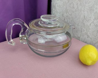 Pyrex Tea Pot 8446-B 6 Cup Vintage Tea Kettle Glass Metal Band Range Top With Lid Mid Century Working Condition NICE Corningware Flameware