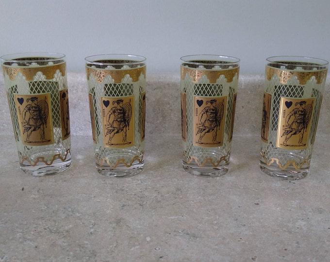 Mid Century Roman ~ Greek 22 K Gold Stancraft Poker Bridge GlassPak Card Game Drinkware Tumblers Glasses