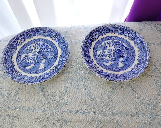Myott Meakin Tableware Blue Willow Tea Cup Saucers 2 Swirl Pattern Transferware Replacement China Ceramic Vintage Collectable England