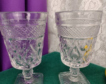 Cape Cod Clear Water Goblets By Imperial Glass Set Of 2 Square Base Heavy Glasses Retro 60's Kitchen # 1602 - 160 Replacements Collectible