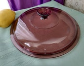 Pyrex Visions Cranberry V 12 C 9 inch Lid Fits the Visions 9 B Visionware Skillet Replacement Pink Glass Cover