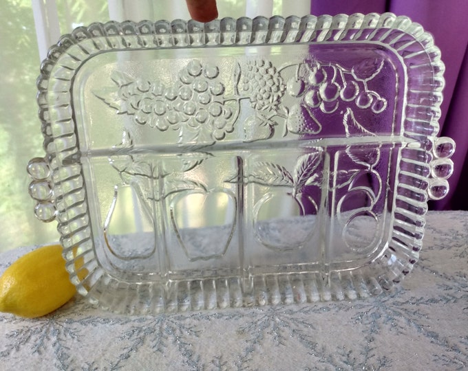 Indiana  Fruit Embossed Vintage Clear Pressed Glass Divided 5 Part Serving Tray Plate Dish Retro 1970's