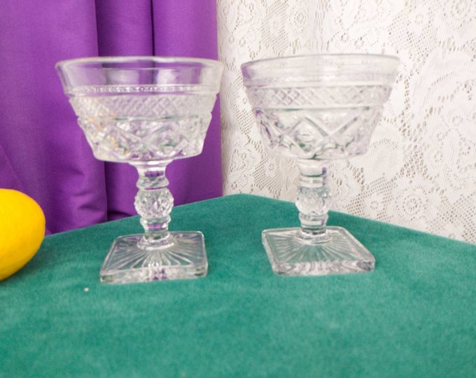 Cape Cod Clear Champagne Tall Sherbet By Imperial Glass Co Vintage Bowl Glass Tall Dessert Dish Square Base
