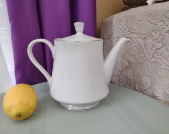 Crown Victoria Lovelace Tea Pot With Lid 6 Inch AKA Empress Pattern Fine China Made In Japan 1960's White Lace Platinum Trim Fine Dining