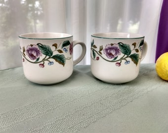 The CastleGarden Collection By Citation Coffee Cups Set of 2 Replacement Floral Stoneware Mugs Castle Garden China
