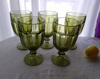 Set Of 5 Libbey Duratuff Vintage Green Gibraltar Pattern Large Water Goblets Olive Avocado Glasses Stemware Drink Ware Retro Kitchen