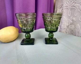 Indiana Colony Park Lane Avicado Green Wine Glasses Set Of 2 Retro70's Kitchen Decor Drinkware