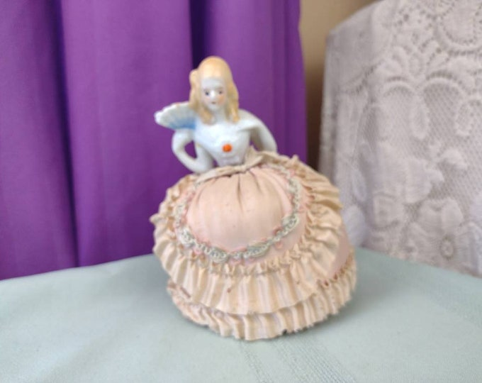 Antique Porcelain Doll Pin Holder Blonde Lady With Blue Fan Pink Taffetta Skirt Early 1900's Intact Original Skirt