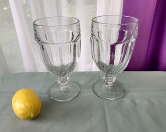 Libbey Duratuff Clear Gibraltar Pattern Large  Heavy Water Goblets Set Of 2  Glasses Stemware Drink Ware Retro Kitchen Restaurant