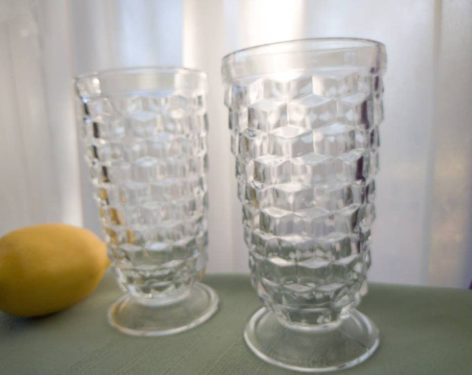 Whitehall Indiana Footed Clear Iced Tea Water Parfait Glasses 12 Oz Drinkware Set Of 2 Cubist Pattern Tumbler 6 Inch Tall