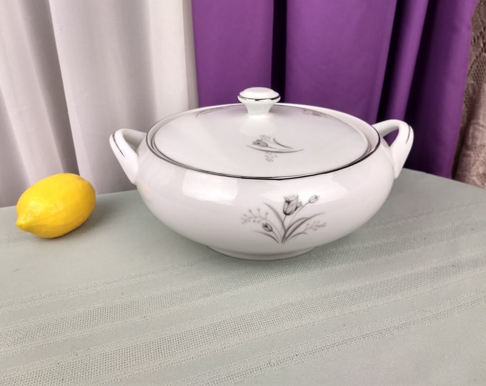 Creative Royal Elegance Soup Tureen Handled Covered Serving Dish Flower Gray On White Pattern