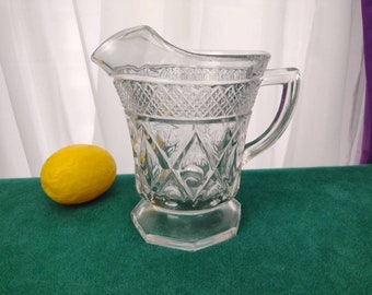 Cape Cod Pitcher By Imperial Glass 6 Inch Footed Juice Pitcher Vintage Milk Pitcher Small 16 Fluid Oz 160 / 240 GrandesTreasures Drinkware