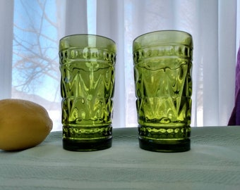 Indiana Colony Park Lane Water Glasses Olive Green ~ Set Of 2 ~ 5 1/2 Inch Tumbler
