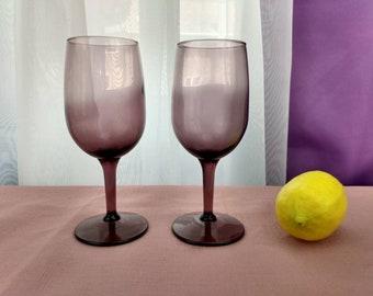 Amethyst White Wine Glasses Set Of 2 Libbey Premiere Smoke Purple Stemware Replacement Retro 80's Drinkware Formal Dining