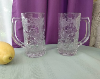 Princess House Fantasia Crystal 12 Oz. Beer Steins 5222 Set Of 2 Embossed Poinsetta Flowers Large Coffee Mugs Replacement Retro Drinkware