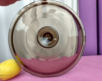 Pyrex Amber Visions Visionware Lid Cover V 2.5 C  RIBBED Glass Cover 8.5 Inch Diameter