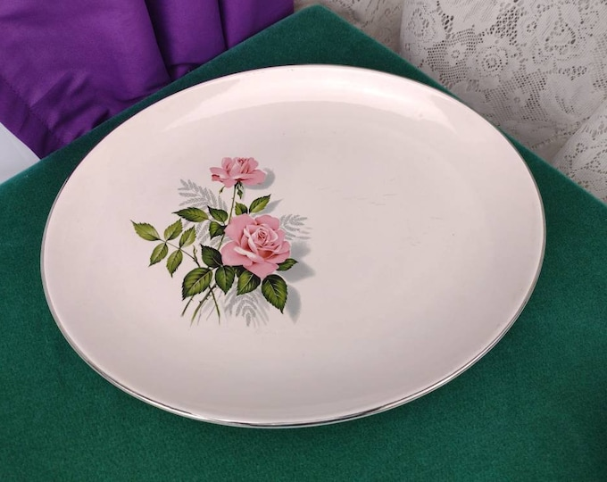 Taylor Smith Taylor Large Oval Serving Platter Mid Century Shabby Chic Country Cottage Feminine Decor Pink Roses Gray Green Platinum Trim