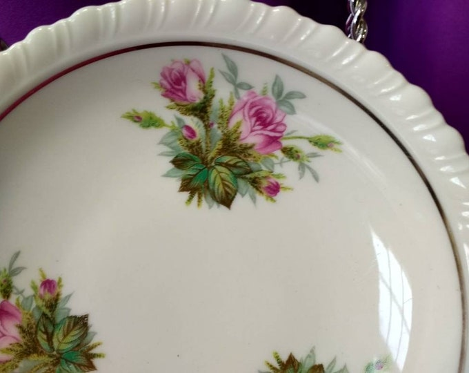 Anniversary by Hanover pink flowers silver Trim lot of 5 selling separately.