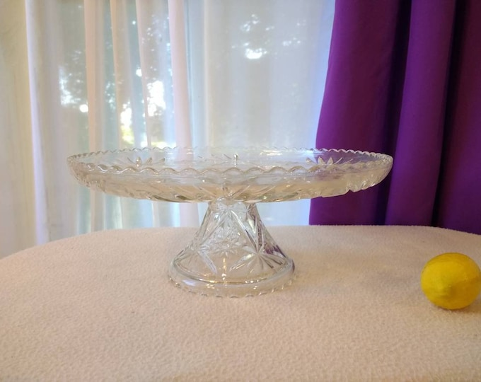 Anchor Hocking Prescut Glass Cake Stand 13 Inch # 706 Cake Platter (2 Piece) Candy Dish Vase Cut Crystal Style Glass DIY Affordable Wedding