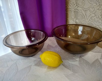 Pyrex Smoke Brown Clear Glass Fireside Bowls   # 322 1 Liter And  # 323 1.5 Liter Baking Supplies Visions Visionware