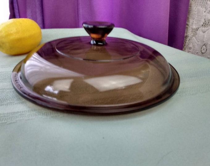 Amber Round V 1.5  C Pyrex Corning Visions Glass Replacement Lid 7 3/8 Diameter Int. Rim 6 5/8  V 1.5 C