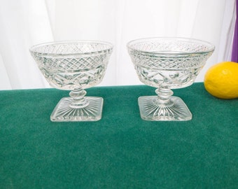 Cape Cod Low Sundae Dishes Footed Wafer Stem Set Of 2 Imperial Glass 1602 - 160 Vintage Replacement Bowls