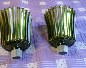 Green Ribbed Vintage Homco Glass Candle Votive Set Of Two