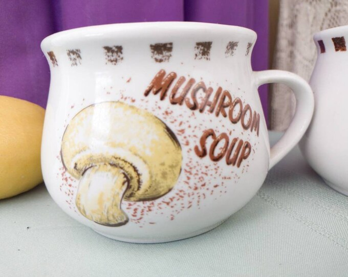 Mushroom Soup Crock Set of 2 Large Stoneware Handled Bowls MUSHROOM SOUP Mugs Unique Rare Mushroom Lovers
