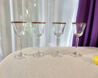 Mikasa Wheaton Gold Rim Fine Lead Crystal Wine Goblets Set Of 4 Fine Dining Formal Wedding Engagement Party Gift Double Gold Guilt Band