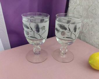Libbey Wild Flower Mid Century Wheat And Thistle Frosted Water Goblets ~ Wine Glasses Replacement Stemware Drinkware